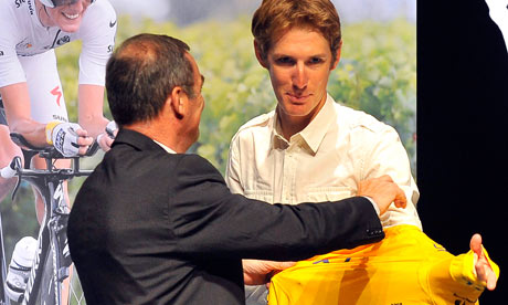 Andy Schleck receives yellow jersey of the 2010 Tour de Franc