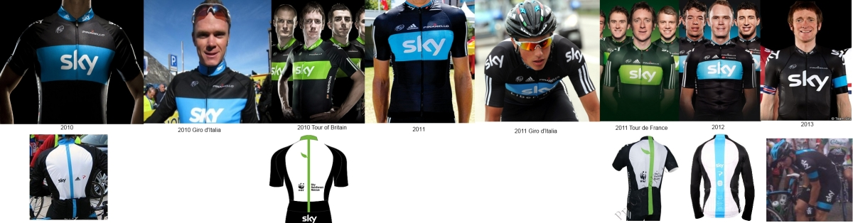 Team Sky jerseys 2010-13