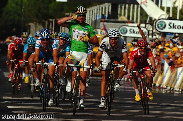 Behind Cavendish, Armstrong gained time on Contador