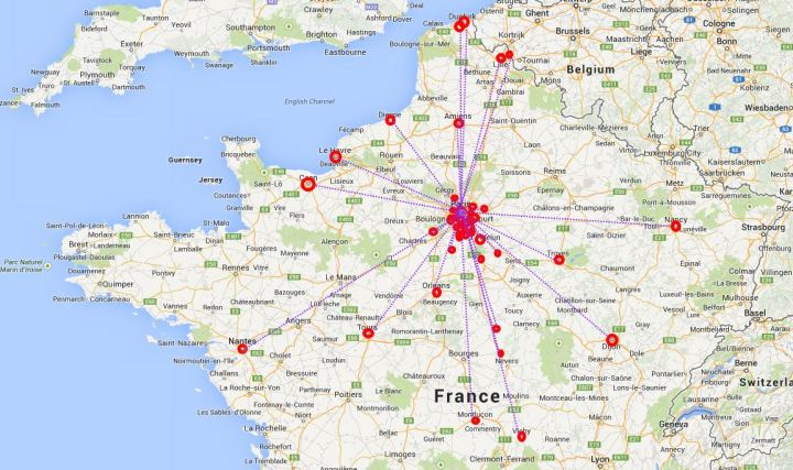 The starting locations of the Tour's final stage to Paris have been wildly different in their location.