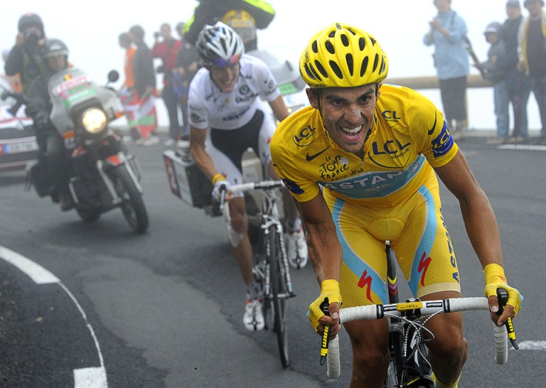 A sight we probably would have seen more often had Schleck been in yellow on the Tourmalet