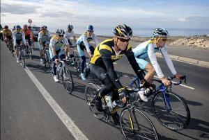 Tenerife - Allenamento  team Astana - Lance Armstrong - Albert Contador
