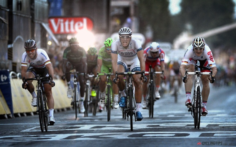 Paris - France - wielrennen - cycling - radsport - cyclisme -  Mark Cavendish (Great Britain / Team Omega Pharma - Quickstep) - Marcel Kittel (Germany / Team Argos - Shimano - Uvex) - Andre Greipel (Germany / Team Lotto Belisol) pictured during  the 100th Tour de France 2013 stage-21 from Versailles / Paris Champs-Elysees - photo VK/NV/PN/Cor Vos © 2013