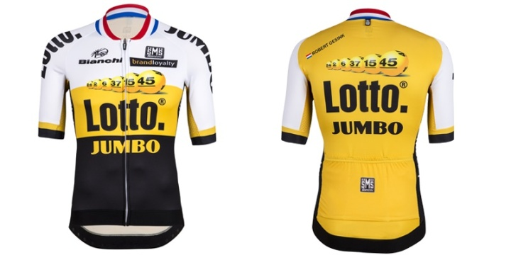 LottoNL, the only Dutch World Tour team now Giant Alpecin have gone German, are celebrating the Utrecht start with this patriotic collar.