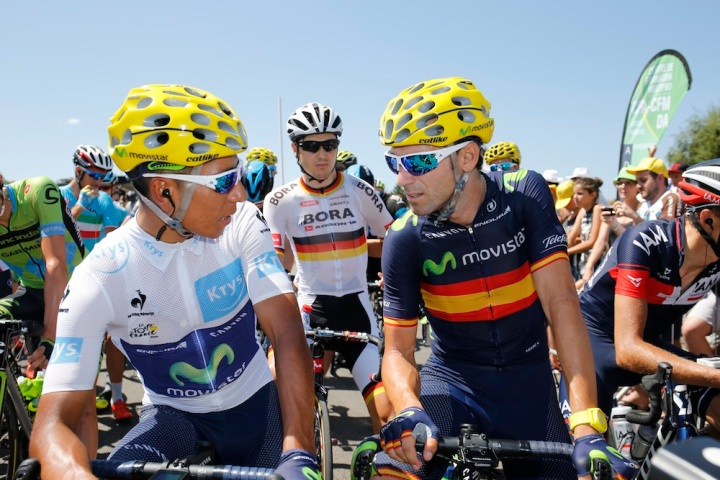 20 July 2015 102nd Tour de France Stage 16 : Bourg-de-Peage - Gap QUINTANA Nairo Alexander (COL) Movistar, Maillot Blanc VALVERDE Alejandro (ESP) Movistar Photo : Yuzuru SUNADA