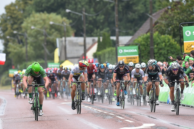 In the fight for the greeen jersey, Andre Greipel took the top points on the day winning the bunch sprint for the intermediate sprint, and taking victory at the finish. Photo: Tim De Waele | TDWsport.com