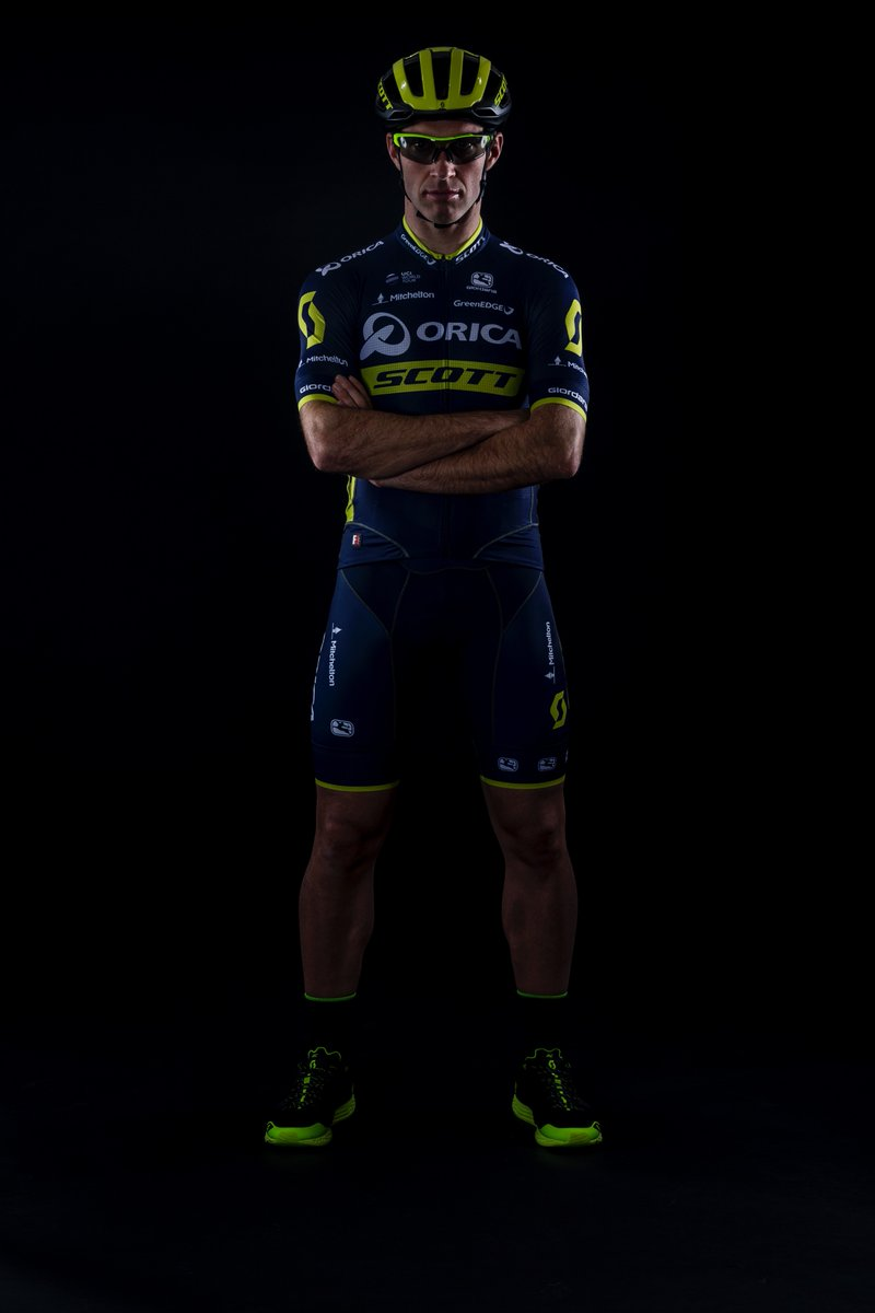 Orica have gone with a darker blue and fluro stripe 451f8abb6